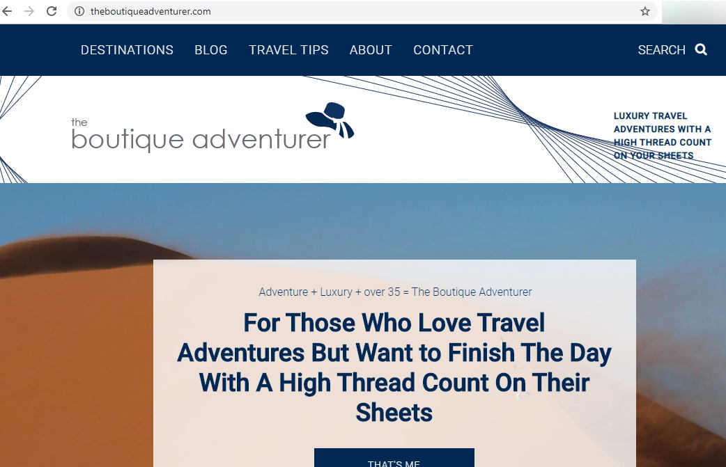 Screenshot of the website for The Boutique Adventurer