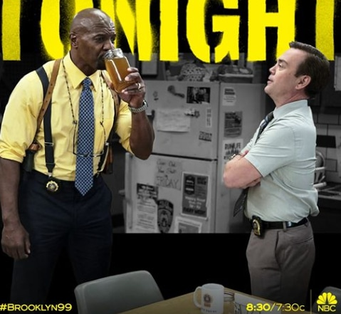 Picture of Sergeant Terry Crews and Detective Charles Boyle drinking bone broth on Brooklyn Nine-Nine