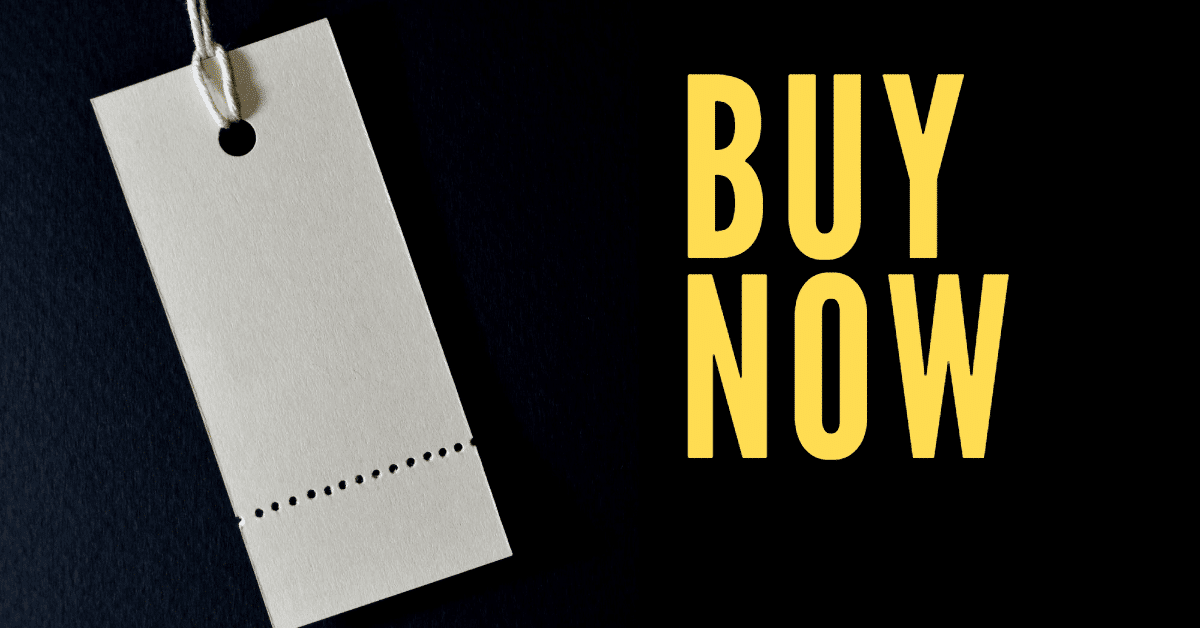 """A picture of a blank price tag with the words """"buy now"""" in yellow"""