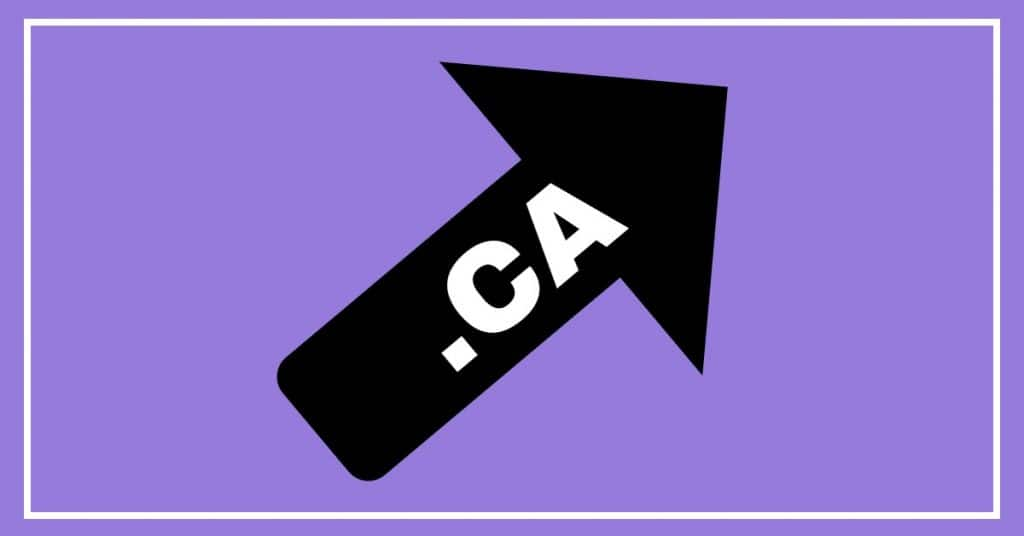 Purple background with black arrow pointing up and to the right. .CA is shown in white letters on the arrow