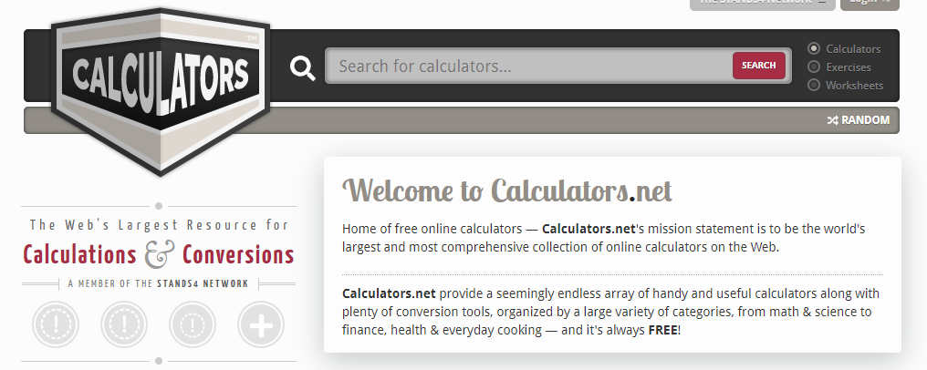 Screenshot of Calculators.net