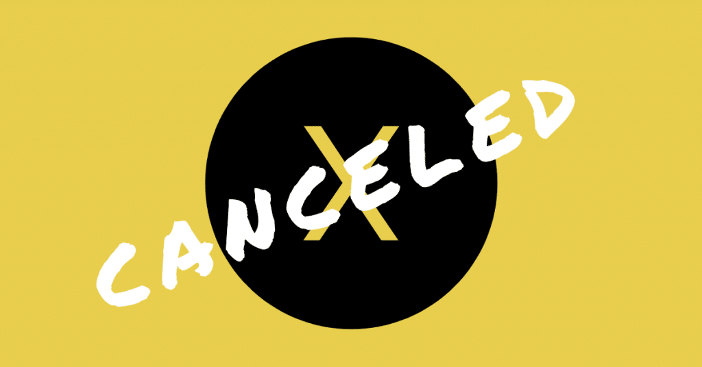 "The word ""canceled"" across a big X on a yellow backgorund"