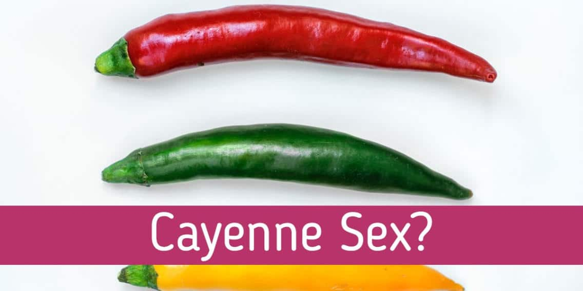 "Picture of three chili pappers in red, green and yellow with the words ""Cayenne Sex"""