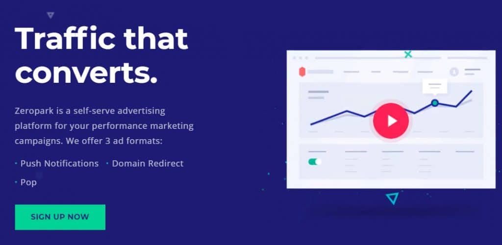 Landing page for ZeroPark