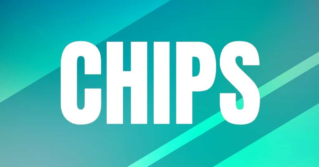 The word Chips on greenish background