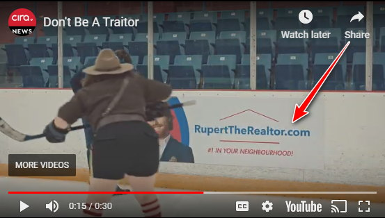 Screen grab of CIRA TV commercial featuring the trademark Realtor in a domain name at a hockey rink