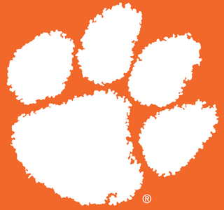 Logo for the Clemson Tigers has a pawprint on orange background