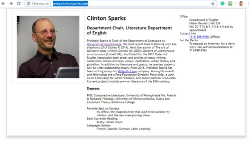 Screenshot of a fake profle on ClintonSparks.com