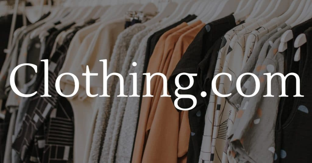 Picture of clothing rack with the words Clothing.com
