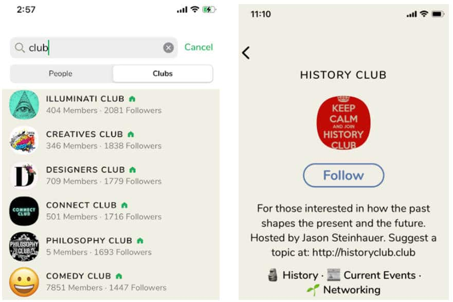 Screenshot of clubhouse app showing clubs on the left and the history club on the right.