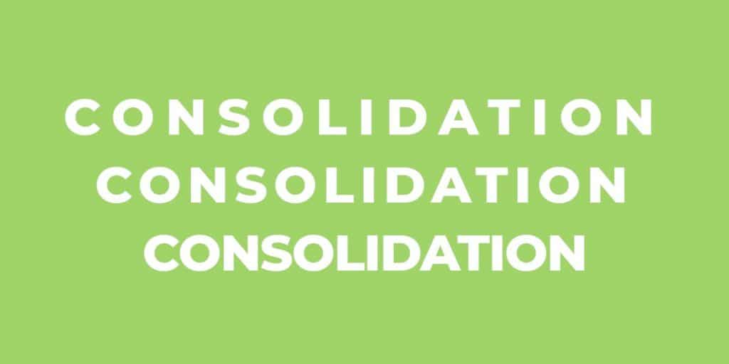 Green background with the words 'consolidation' in white on three lines. Each line has narrower letter spacing.