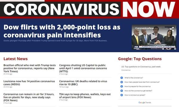 Screenshot of Fox site Coronavirus Now