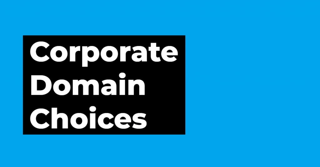 "Graphic that states ""corporate domain choices"" on blue background"