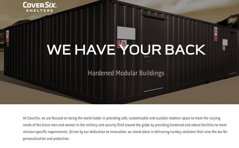 Screenshot of CoverSix website. It shows a modular building with mountains in the background.