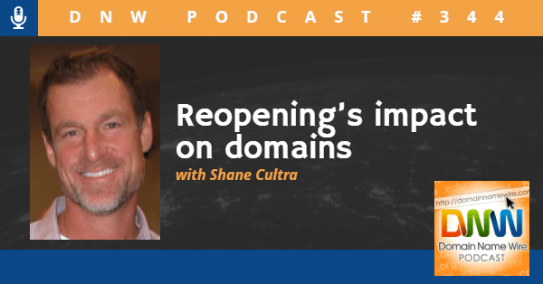 """Picture of Shane Cultra with the words """"DNW Podcast #344 Reopening's impact on domains"""