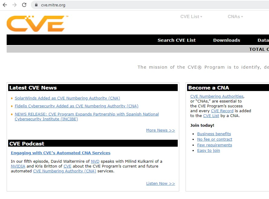 A screenshot of MITRE's CVE web page showing logo and web address