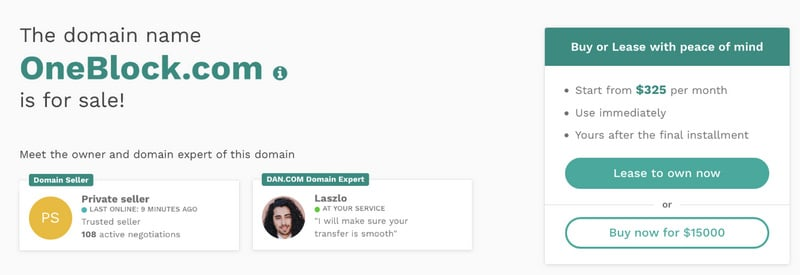 Screenshot of Dan.com financing option