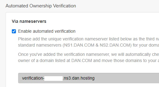 Screenshot of Dan.com account ownership verification