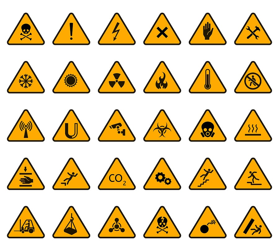 Images of danger warning signs
