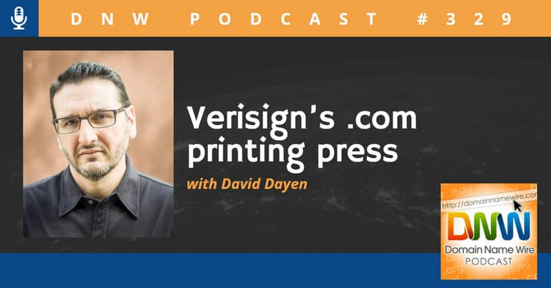 Headshot of David Dayen with the words Verisign's .com printing press