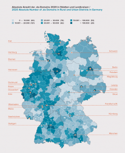 A map showing the distribution of .de domain registrations in Germany