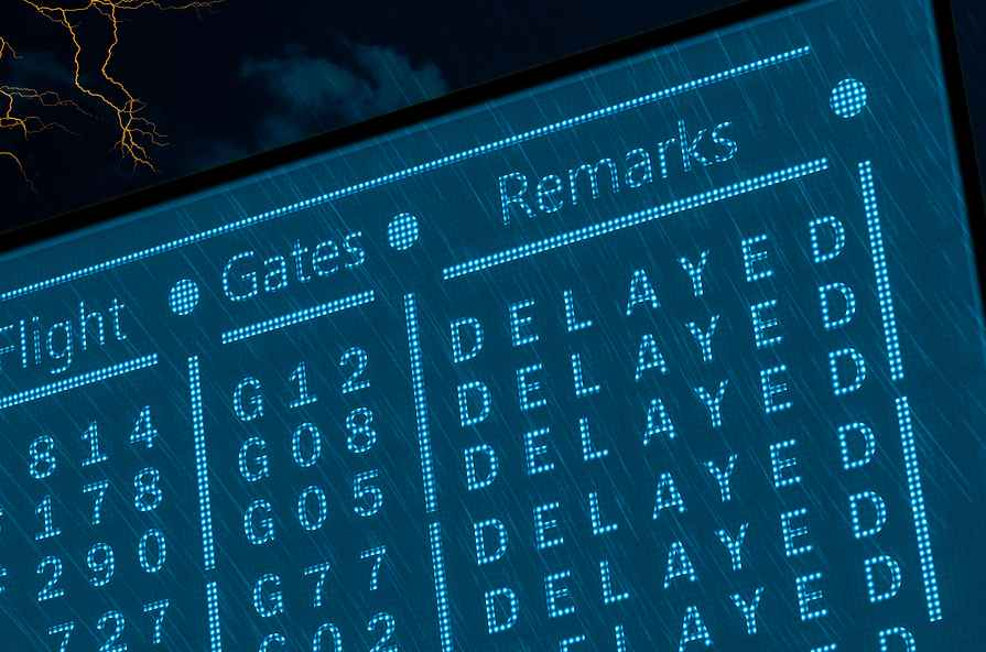 Image of an airport flight board in which all flights are delayed
