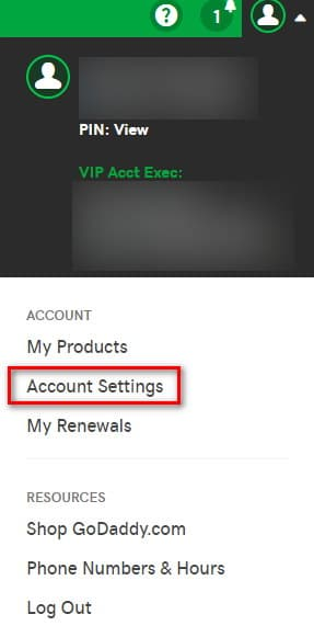 Picture of GoDaddy account interface with option to change account settings
