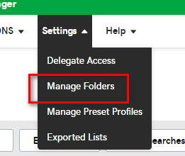 GoDaddy dialog box with option for Manage Folders