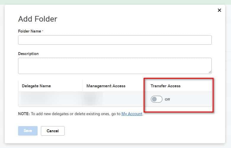 GoDaddy dialog box to add a folder
