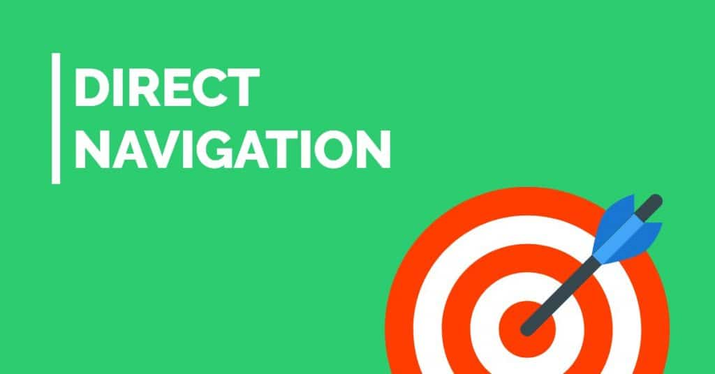 Green background with an archery target and arrow in the bullseye, with 'direct navigation' written on it