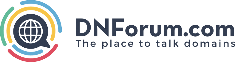 """Logo for DNForum.com """"The place to talk domains"""""""