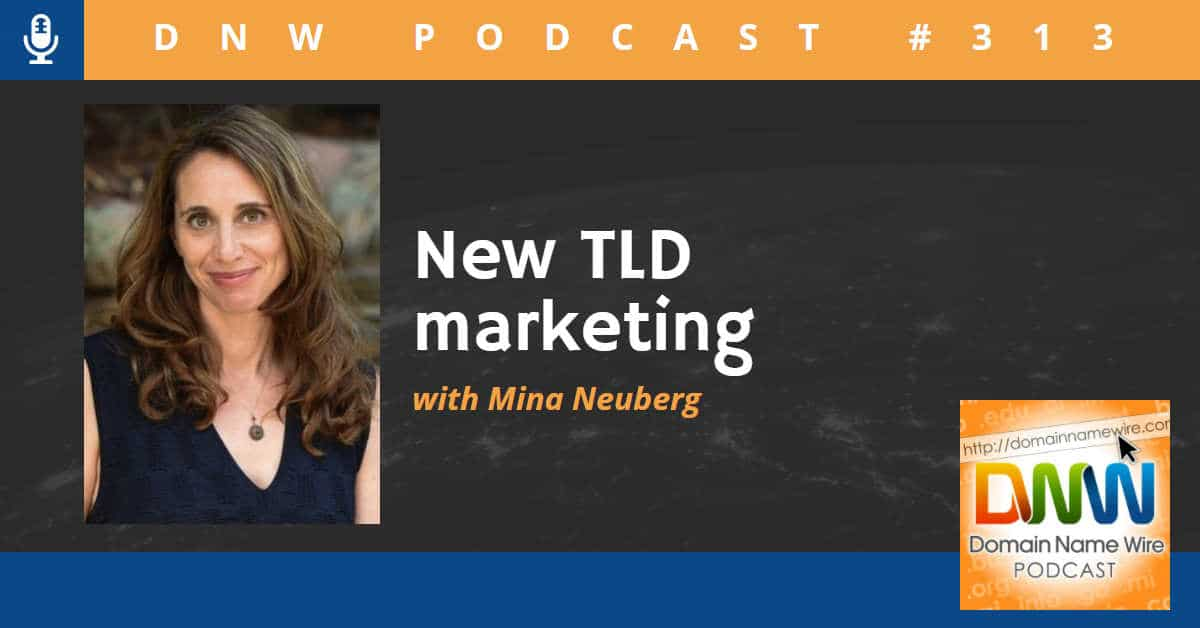 "Picture of Mina Neuberg with the words ""New TLD marketing"" and Domain Name Wire Podcsat #313"