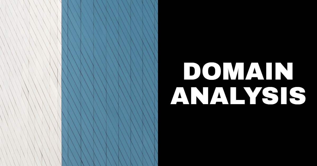 """the words """"domain analysis"""" on a black, blue and white background"""