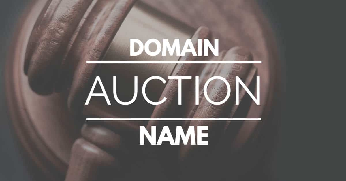 "The words ""domain name auction"" overlayed on photo of auctioneer gavel"