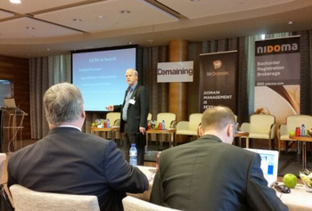 Paul Keating presents at last year's Domaining Europe conference in Spain.