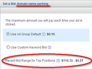 Domain parking on Yahoo