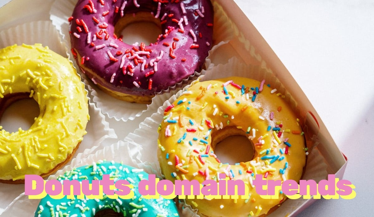 "Picture of four donuts with the words ""Donuts domain trends"""