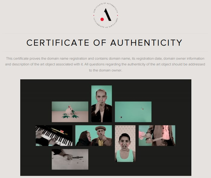 A screenshot of a .art certificate of authenticity