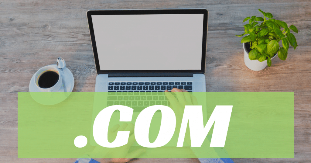Picture of a laptop, cup of coffee, and basil plant with the word .com over a green background