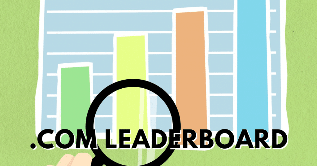"""Picture of a column chart and a magnifying glass with the words """".com leaderboard"""""""