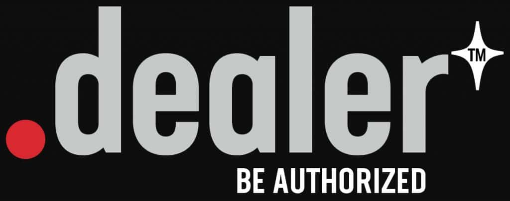 "Logo for .dealer domain name with the tagline ""Be authorized"""