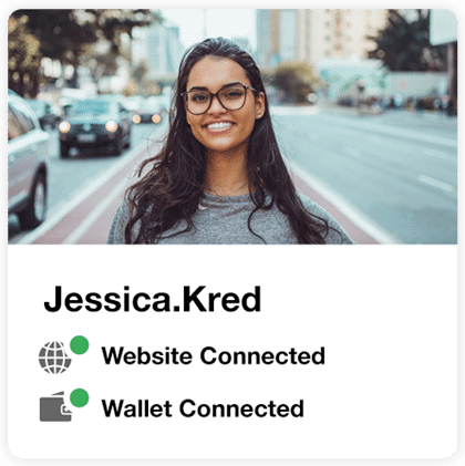 """Picture of a woman standing in the street with """"jessica.kred"""" below it, and icons indicating that a website and wallet are connected"""