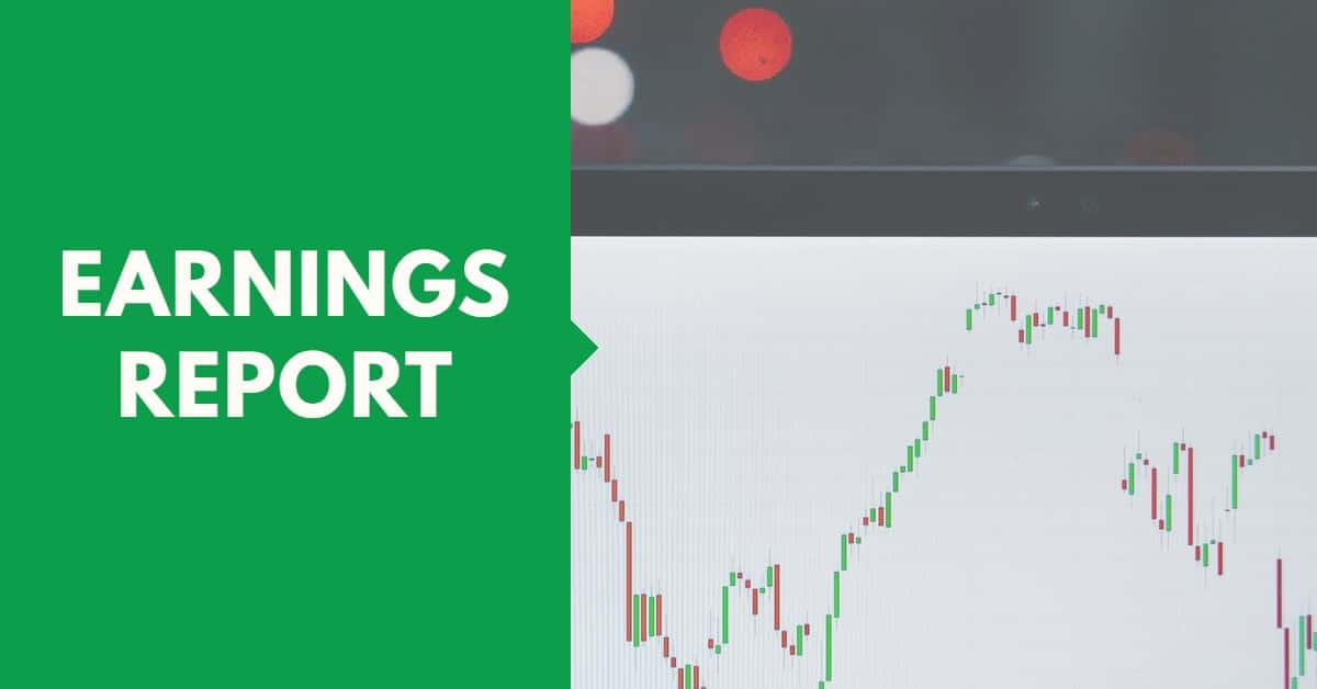 Picture of stock chart with the words earnings report