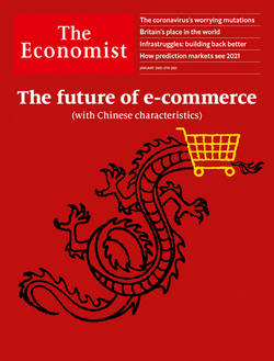 Economist cover showing a dragon with shopping cart for its head