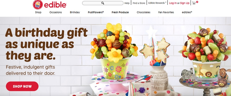 A screenshot of Edible Arrangements' website