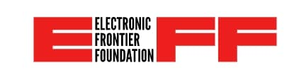 Logo for Electronic Frontier Foundation featuring EFF in red block letters
