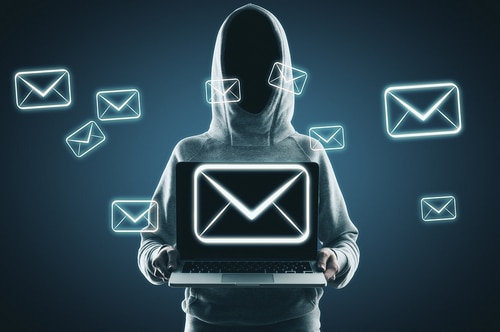 Picture of hooded man with email.