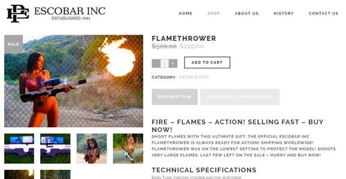 Screenshot of EscobarInc.com website promoting a flamethrower for sale