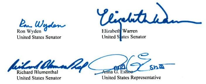 Signatures of four U.S. Senators who are questioning the deal to sell .org, including Elizabeth Warren