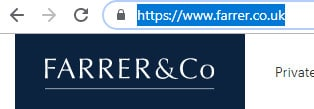 Screen grab of Farrer & Co website and web address Farrer.co.uk